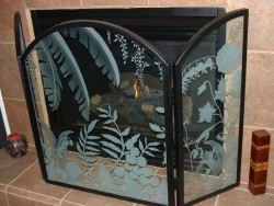 tropical fire place screen